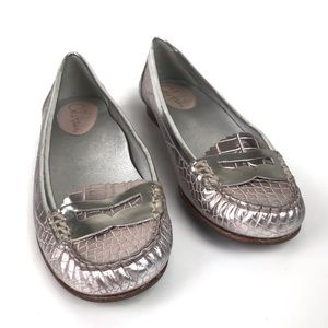 Cole Haan Croc embossed silver penny loafer sz 7.5